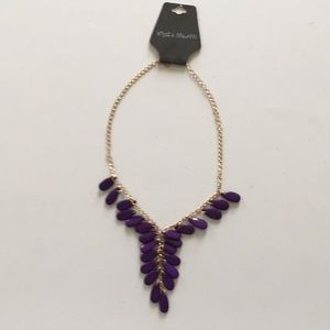 """What's New???"" Purple ""Y"" necklace, NWT"